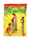Women Braiding Hair in Traditional Village in Madagascar, Africa Posters af Chris Corr