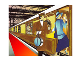 Porter Assisting Glamorous 1920s Woman Boarding Train in Train Station Poster by David Chestnutt