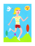 Woman Running on Sunny Day Posters by Chris Corr
