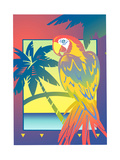 Parrot and Palm Trees Poster di David Chestnutt