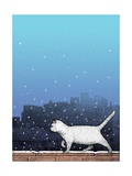 Cat Walking on Wall in Snow Prints by Alan Baker