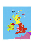 Illustrated Map of British Isles Poster by Chris Corr