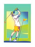 Female Golfer Preparing to Swing Prints by David Chestnutt
