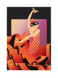Flamenco Dancer in Red Polka Dot Dress Playing Castanets Prints by David Chestnutt