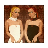Symmetrical View of Two Women in White and Black Dresses, Face to Face Posters by Matthew Laznicka