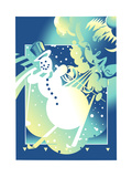 Snowman Skiing Against Blue Background Prints by David Chestnutt
