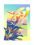 Flower in Golf Course, Man Playing Golf in Background Posters by David Chestnutt
