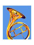 Trumpet on Blue Background Prints by David Chestnutt