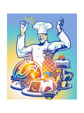 Happy Chef Clicking Fingers as Food Is Ready Print by David Chestnutt