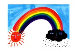 Rainbow, Sun and Storm Cloud in Sky Prints by Chris Corr