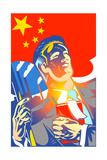 Man Holding Chinese Flag Arte por David Chestnutt