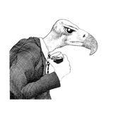 View of Bird Wearing Suit and Holding Wine Glass Poster par Alan Baker