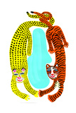 Tiger and Leopard on White Background Prints by Chris Corr