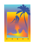Woman Dancing on Beach Poster by David Chestnutt