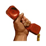 Man's Hand Raised, Holding Red Telephone Handset Poster by Matthew Laznicka
