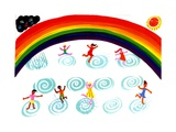 Children Playing under Rainbow Prints by Chris Corr