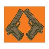 Two Handguns on Orange Print by Matthew Laznicka