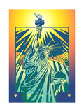 Statue of Liberty Against Colored Background Print by David Chestnutt