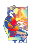 Woman Working with Computer Posters by David Chestnutt