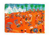 Rickshaws in Busy City Street Scene in Madagascar, Africa Posters by Chris Corr