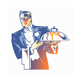 Silver Service Waiter in Tuxedo Carrying Domed Tray Prints by David Chestnutt
