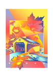 Autumn Leaves and Building Print by David Chestnutt