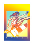 Athlete Jumping over Hurdle Prints by David Chestnutt