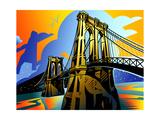 Suspension Bridge at Night Prints by David Chestnutt