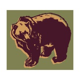 Brown Bear on Green Posters by Matthew Laznicka