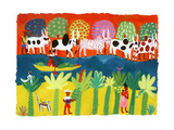 Traditional Life on River in Madagascar, Africa Print by Chris Corr