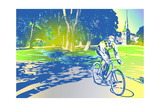 Man Riding Bike in Park Posters by David Chestnutt