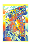Colorful Totem Pole in Front of Suspension Bridge Prints by David Chestnutt