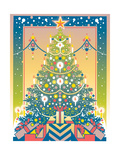 Symmetrical Christmas Tree and Gifts Stampe di David Chestnutt