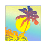 Palm Tree Against Sun Prints by David Chestnutt