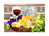 Still Life with Cheese, Grapes and Red Wine Prints by Sarah Jackson