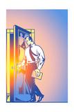 Businessman Opening Door Poster by David Chestnutt