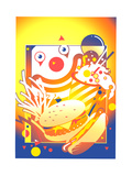 Clown Face Behind Take Out Food Prints by David Chestnutt