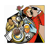 Bell Boy Saluting Bringing Breakfast Tray Prints by David Chestnutt