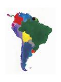 Watercolor Map of South America Prints by Jennifer Maravillas