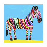 Colorful Zebra with Multicolored Stripes Prints by Chris Corr