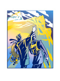 Man Pointing on Mountain Peak Prints by David Chestnutt