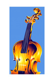 Cello on Blue Background Prints by David Chestnutt