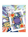 Gambling Dice, Roulette Wheel and Playing Card with Globe Prints by David Chestnutt