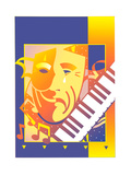 Tragedy and Comedy Masks with Piano Prints by David Chestnutt