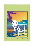 White Deck Chair with Martini Glass on Armrest Art by David Chestnutt