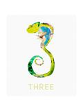 Chameleon Against White Background Kunst von Sarah Jackson
