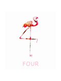 Pink Flamingo Standing Against White Background Prints by Sarah Jackson