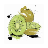Whole and Cut Kiwi Fruit Poster by Ben Tallon