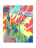 Statue of Liberty with Hollywood Sign Above Posters by David Chestnutt