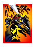 Firefighters Extinguishing Flames Posters by David Chestnutt